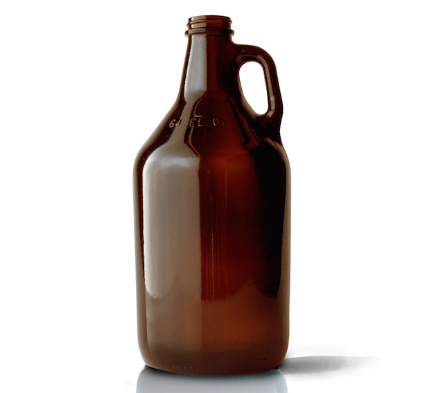 1 Brown Glass Growler 64oz